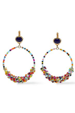 KENNETH JAY LANE 22-karat gold-plated, lapis lazuli and bead hoop earrings