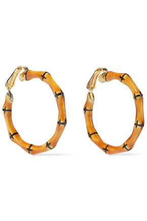 KENNETH JAY LANE Gold-tone enameled bamboo hoop clip earrings