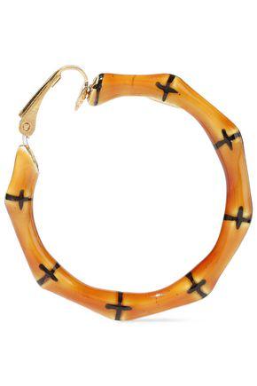 KENNETH JAY LANE Gold-tone enameled bamboo hoop clip earrings