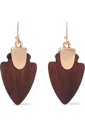 KENNETH JAY LANE Gold-plated wood earrings