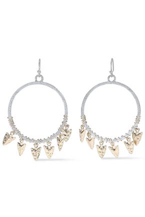KENNETH JAY LANE 22-karat gold and rhodium-plated earrings