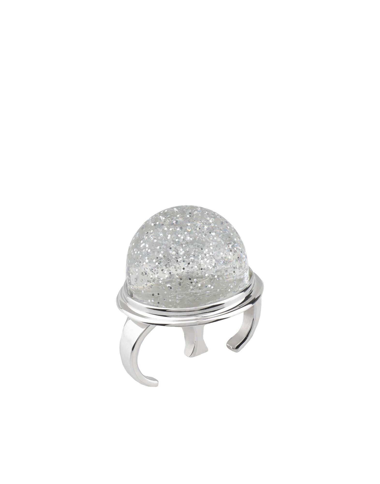 《送料無料》MM6 MAISON MARGIELA レディース 指輪 クリア S メタクリレート樹脂 100% / 真鍮/ブラス