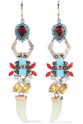 IOSSELLIANI Gold-tone, crystal and stone earrings