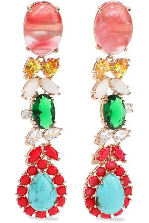 IOSSELLIANI Gold-tone, quartz, turquoise and crystal earrings