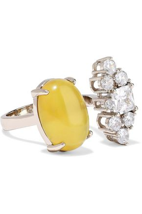 IOSSELLIANI Gold-tone, crystal and stone ring