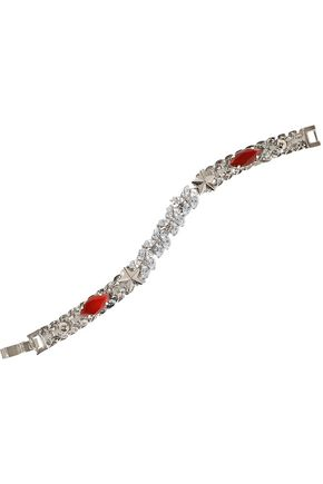 IOSSELLIANI Silver-tone, agate and crystal bracelet
