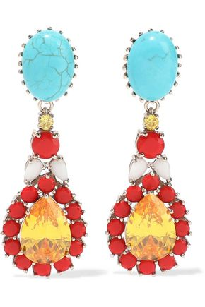 IOSSELLIANI Gold-tone, turquoise and crystal earrings