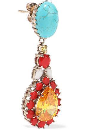 IOSSELLIANI Gold-tone, turquoise and crystal earrings