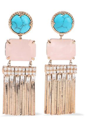 IOSSELLIANI Gold-tone, turquoise, quartz and crystal earrings
