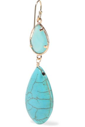 KENNETH JAY LANE Gold-plated, turquoise and crystal earrings