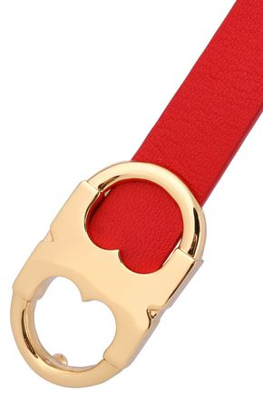 TORY BURCH Gold-tone and textured-leather bracelet