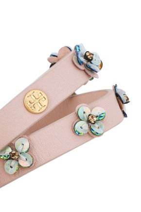 TORY BURCH Gold-tone, crystal, sequin and leather bracelet