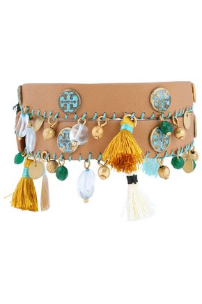 TORY BURCH Gold-tone bead, tassel and leather bracelet