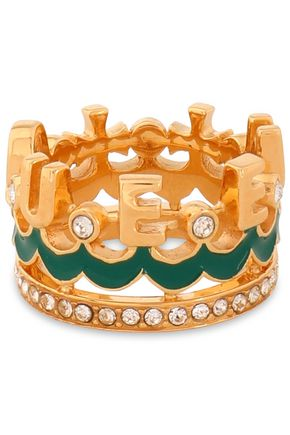 DOLCE & GABBANA Gold-tone, crystal and enamel ring
