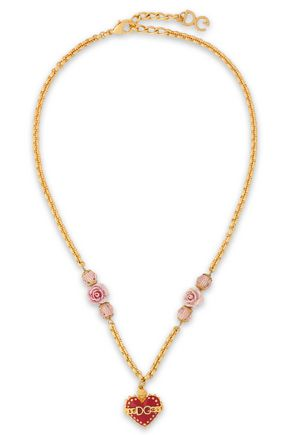 DOLCE & GABBANA Sacred Heart gold-tone, crystal, resin and enamel necklace