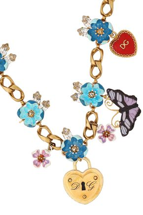 DOLCE & GABBANA Gold-tone, crystal and enamel necklace