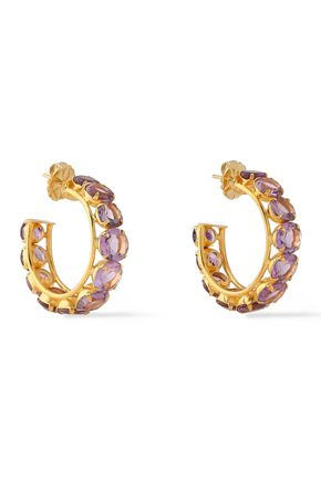 BOUNKIT 14-karat gold-plated amethyst earrings