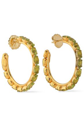 BOUNKIT 14-karat gold-plated peridot earrings