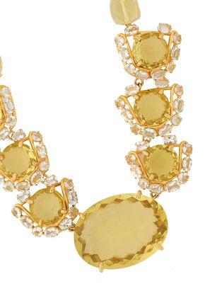 BOUNKIT Gold-tone, quartz and aquamarine necklace