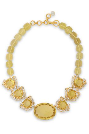 BOUNKIT Gold-tone, quartz and aquamarine necklace