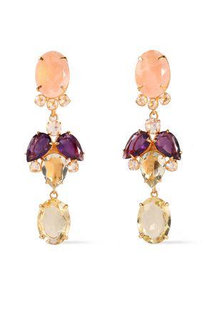 BOUNKIT 14-karat gold-plated, quartz and amethyst earrings