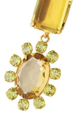 BOUNKIT 14-karat gold-plated, quartz and peridot necklace