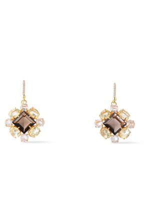 BOUNKIT 14-karat gold-plated, quartz and crystal earrings