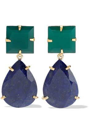 BOUNKIT 14-karat gold-plated onyx and lapis lazuli earrings