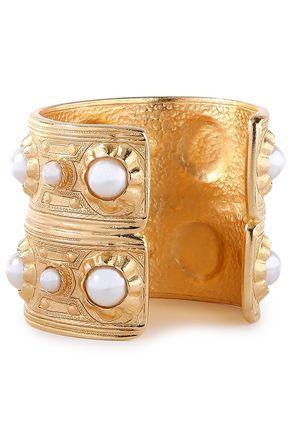 BEN-AMUN 24-karat gold-plated faux pearl cuff