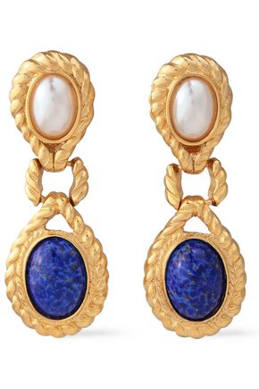 BEN-AMUN 24-karat gold-plated, faux pearl and stone clip earrings