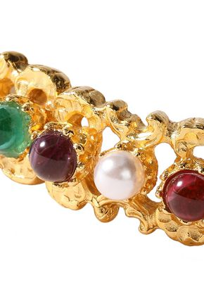 BEN-AMUN 24-karat gold-plated, faux pearl and stone bangle