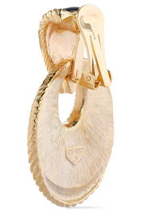 BEN-AMUN 24-karat gold-plated enamel clip earrings