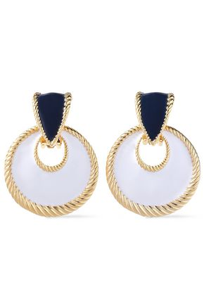 BEN-AMUN 24-karat gold-plated enamel clip earrings