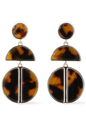 BEN-AMUN 24-karat gold-plated tortoiseshell acrylic earrings