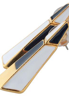 BEN-AMUN 24-karat gold-plated color-block enamel earrings