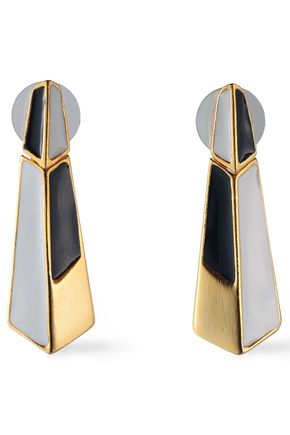 BEN-AMUN 24-karat gold-plated color-block enamel earrings