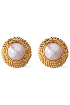 BEN-AMUN 24-karat gold-plated faux pearl clip earrings