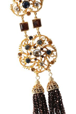 BEN-AMUN Gold-tone, bead and crystal necklace