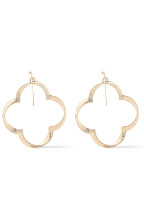 KENNETH JAY LANE Textured gold-plated earrings