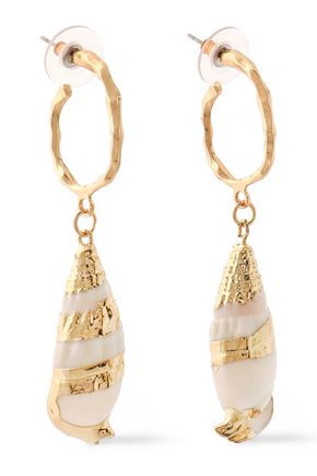 KENNETH JAY LANE Gold-tone shell earrings