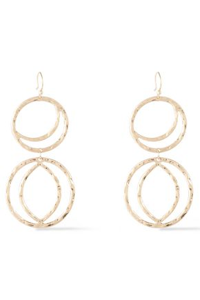 KENNETH JAY LANE Hammered gold-tone earrings