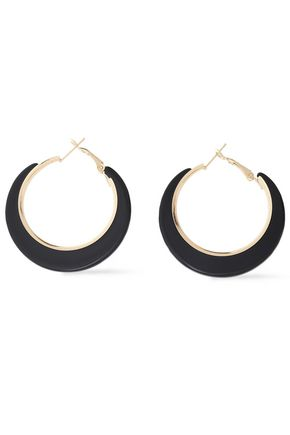 KENNETH JAY LANE Gold-tone acetate hoop earrings