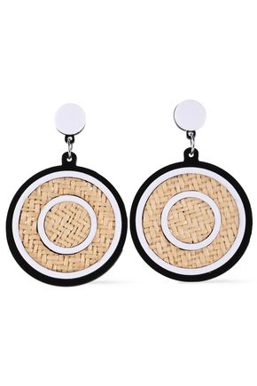 KENNETH JAY LANE Silver-tone, rattan and acetate earrings