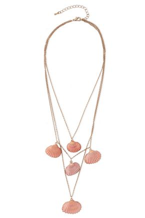 KENNETH JAY LANE Gold-tone shell necklace