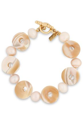 KENNETH JAY LANE Gold-tone shell and faux pearl bracelet