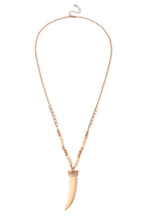 KENNETH JAY LANE Gold-tone, bead and wood necklace