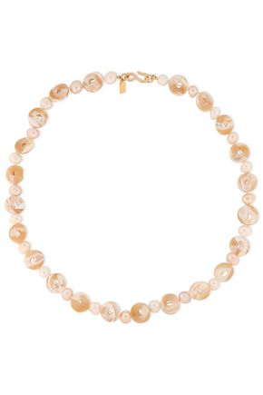 KENNETH JAY LANE Gold-plated, pearl and shell necklace