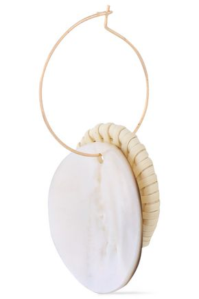 KENNETH JAY LANE Gold-plated, rattan and shell earrings