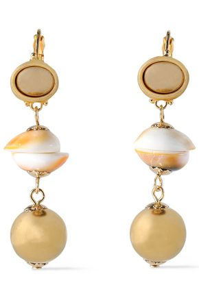 KENNETH JAY LANE Gold-plated shell earrings
