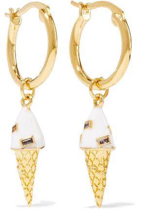 NOIR JEWELRY 14-karat gold-plated, crystal and enamel hoop earrings